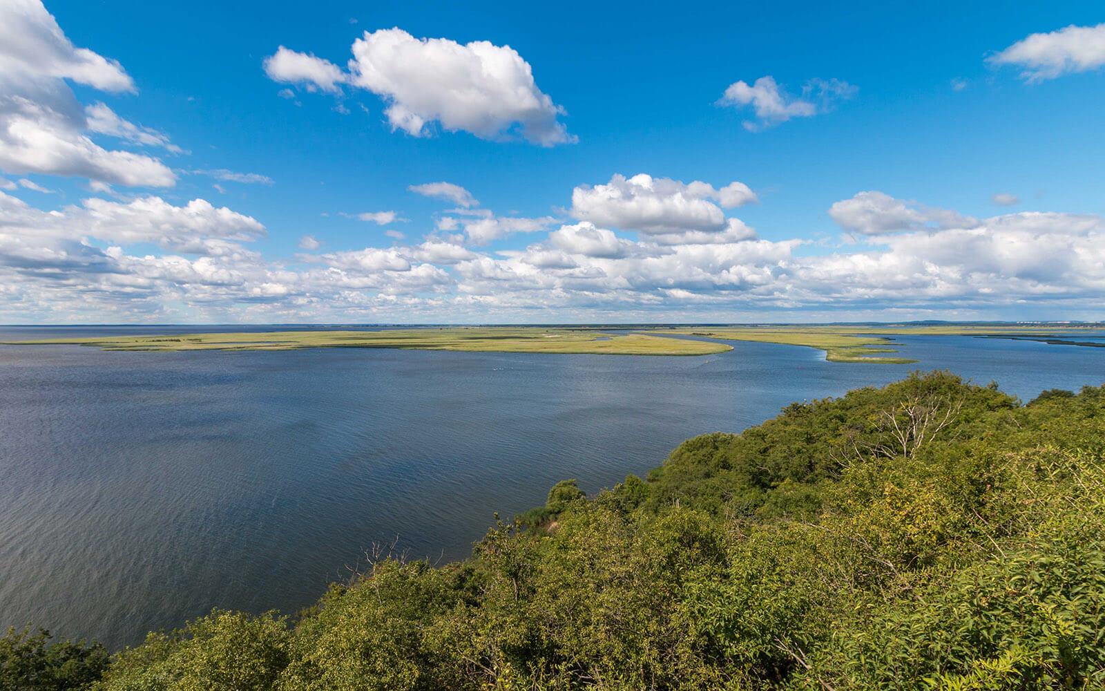 Widok zpunktu widokowego Delta Świny wLubinie nawyspie Wolin